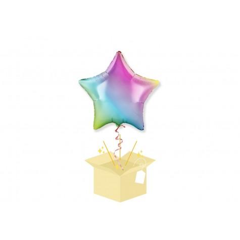 Tęczowa Gwiazdka Balon z helem